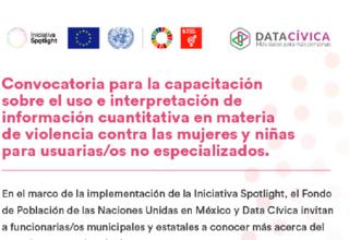 Convocatoria para la capacitación sobre el uso e interpretación de información cuantitativa en materia de violencia contra las mujeres y niñas para usuarias/os no especializados