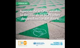 Agencias de la ONU saludan la decisión de la SCJN sobre despenalización del aborto